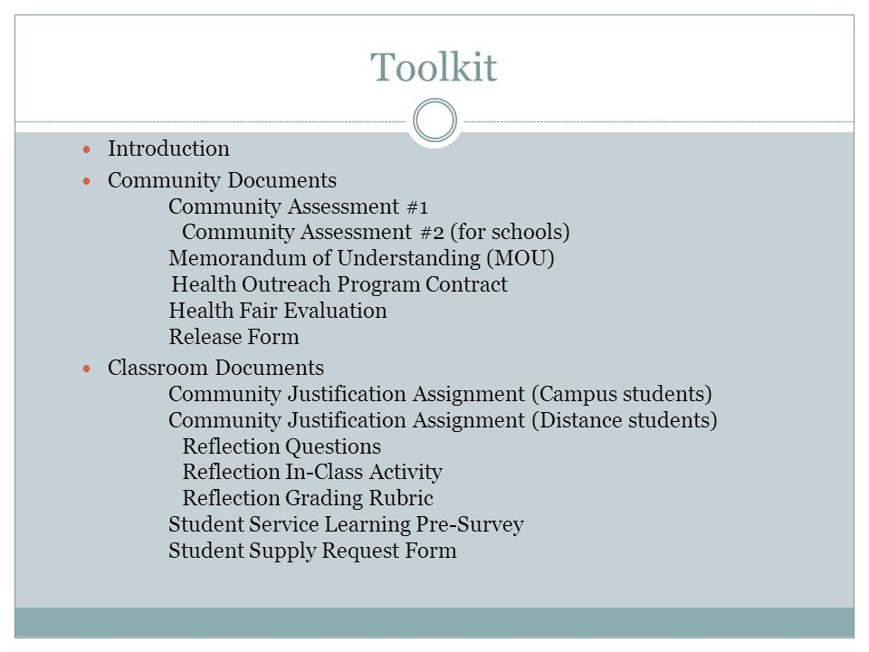 Toolkit Faculty Documents Faculty Survey Program PrePlanning Worksheet Program Planning Worksheet Program Development Worksheet Program Analysis Worksheet SWOT Analysis Worksheet Identifying Community Capacity What is Service.