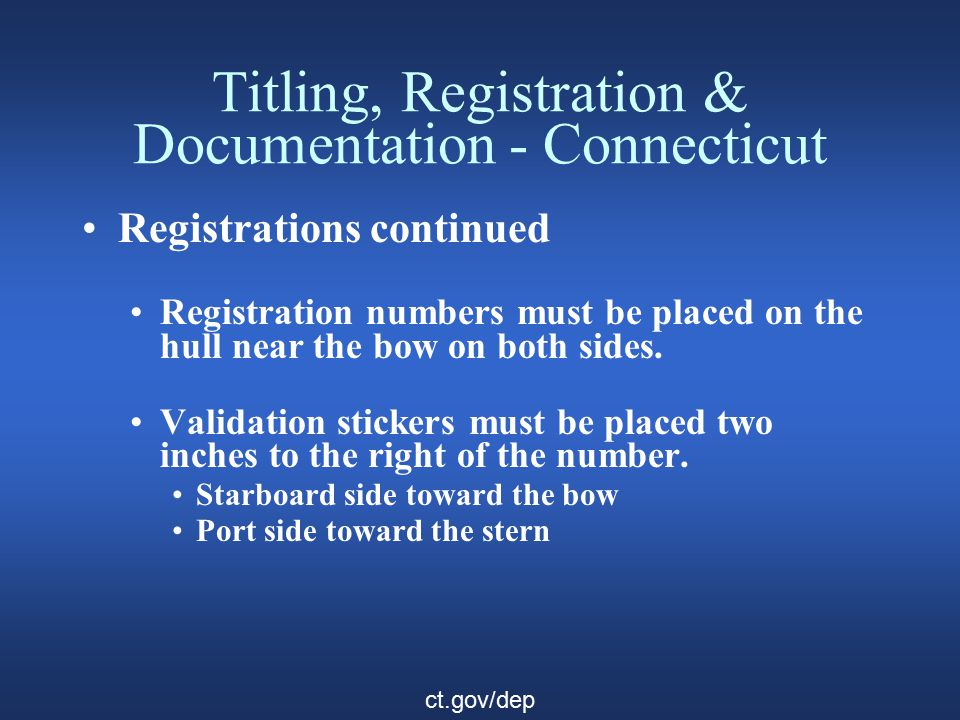 Titling, Registration & Documentation - Connecticut Documentation Documented vessels must be registered if in the state more than 60 days.