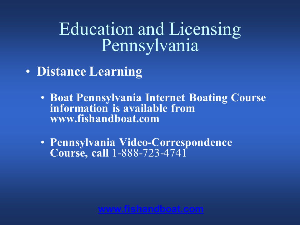 Titling, Registration & Documentation - Pennsylvania Registration Boats propelled by machinery and electric motors must be numbered, regardless of length and type of motor Documented boats must be registered Unpowered boats may be registered Renewal cycle is every two years www.fishandboat.com