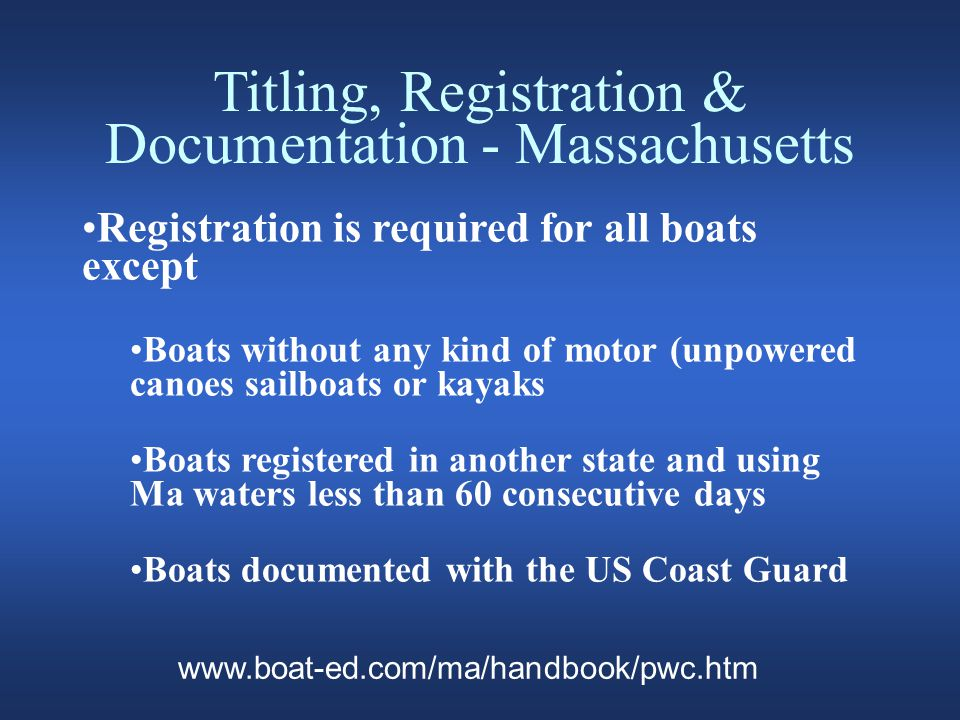 Education and Licensing Rhode Island All Rhode Island residents born after 1/1/1986 must have a Boater Safety Education Certificate (BSEC) PWC: BSEC is required for all operators Less than 13 you must have a BSEC on board and be supervised by an adult over 18 www.dmv.com/ri/rhode-island/all-about/boating-regulations