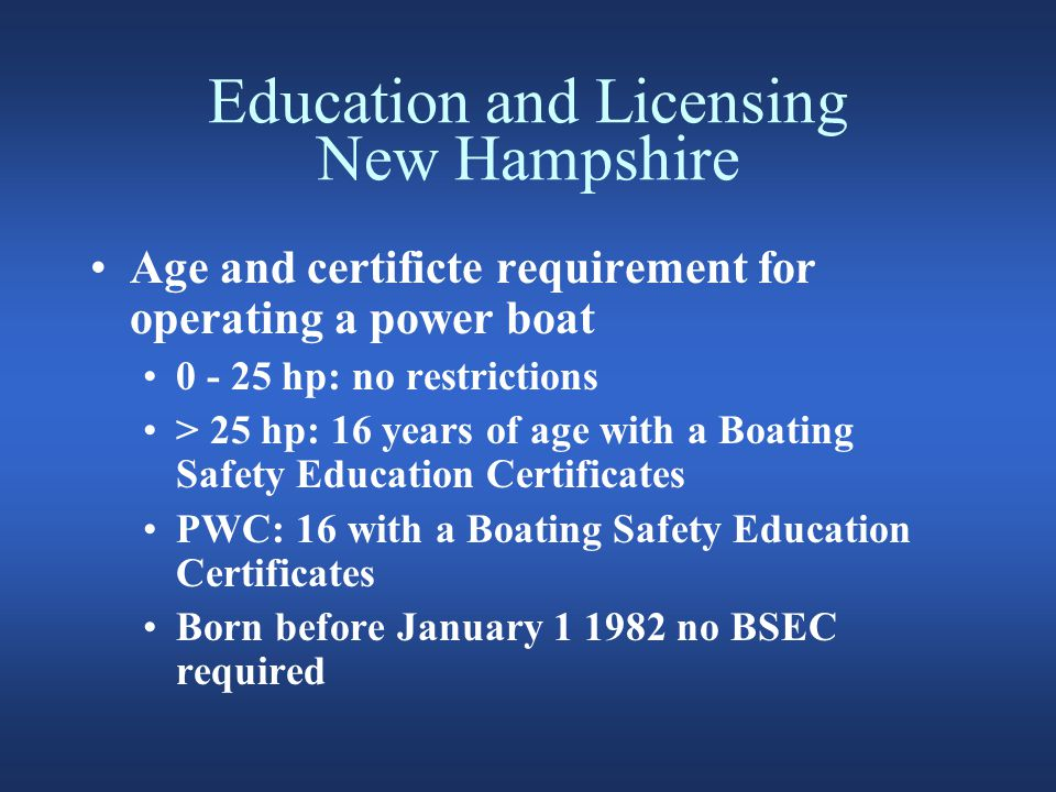 Education and Licensing New Hampshire Boating Safety Education Certificates Boating certificate issued by another state and NASBLA approved USCG Auxiliary boating safety certificate USPS boating safety certificate USCG unexpired commercial boating license NH unexpired commercial boating license