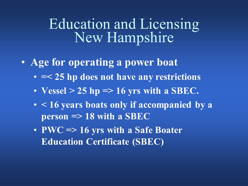 Education and Licensing New Hampshire NH Safe Boating Education Certificate.