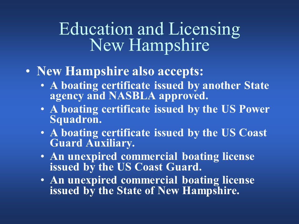 Registration New Hampshire All motor boats including electric must be registered and carry a validation sticker Sailing vessels >12' including boats and boards must be registered Other small vessels, canoes, kayaks without motors are exempt Boats registered in other states using NH 30 or more consecutive days must be registered