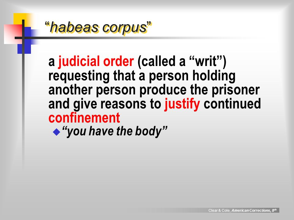 Clear & Cole, American Corrections, 8 th legal doctrines controlling correctional rulings least restrictive method a principle which requires officials to select that administrative remedy for any problem so that the remedy constitutes the least possible threat to personal rights and represents the least invasive means of solving the problem