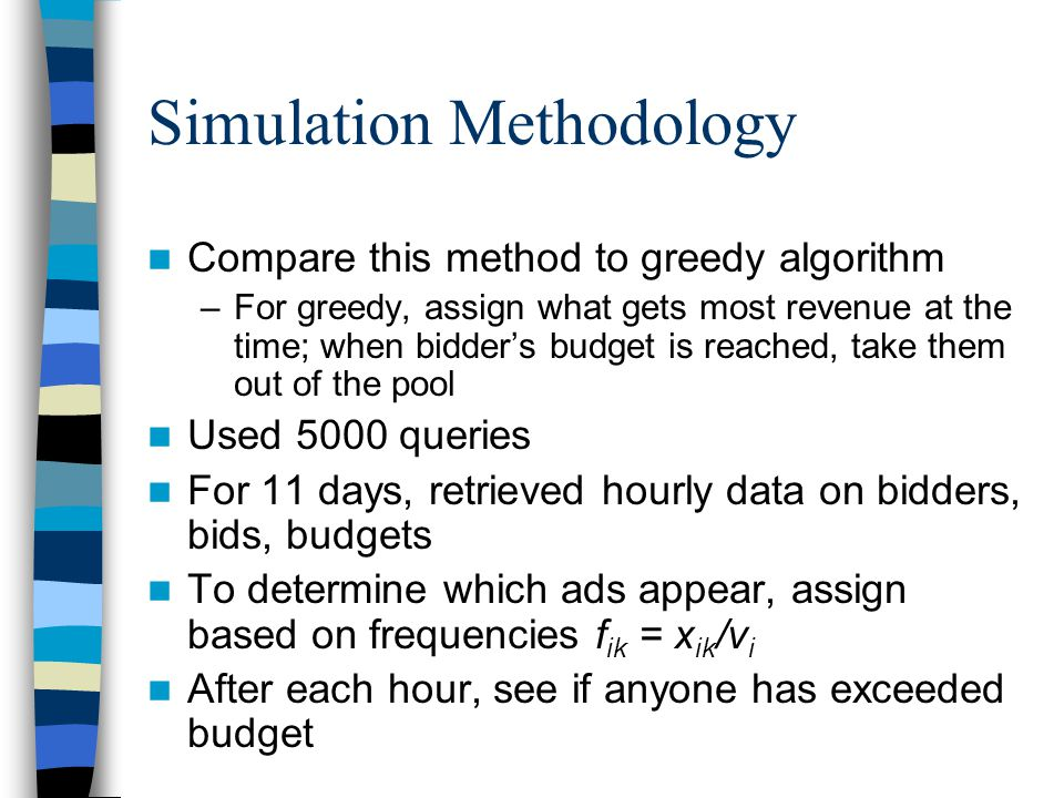 Simulation Results Current method better than greedy method, when optimizing over revenue or efficiency Larger gain for revenue when revenue optimized Revenue and efficiency are closely tied