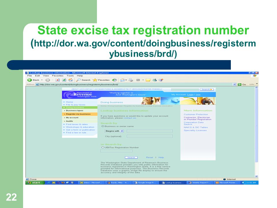 23 State excise tax registration number