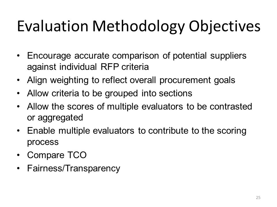 Criteria Publishing Decisions Proposal criteria must be established prior to the release of the RFP and published in the RFP document.