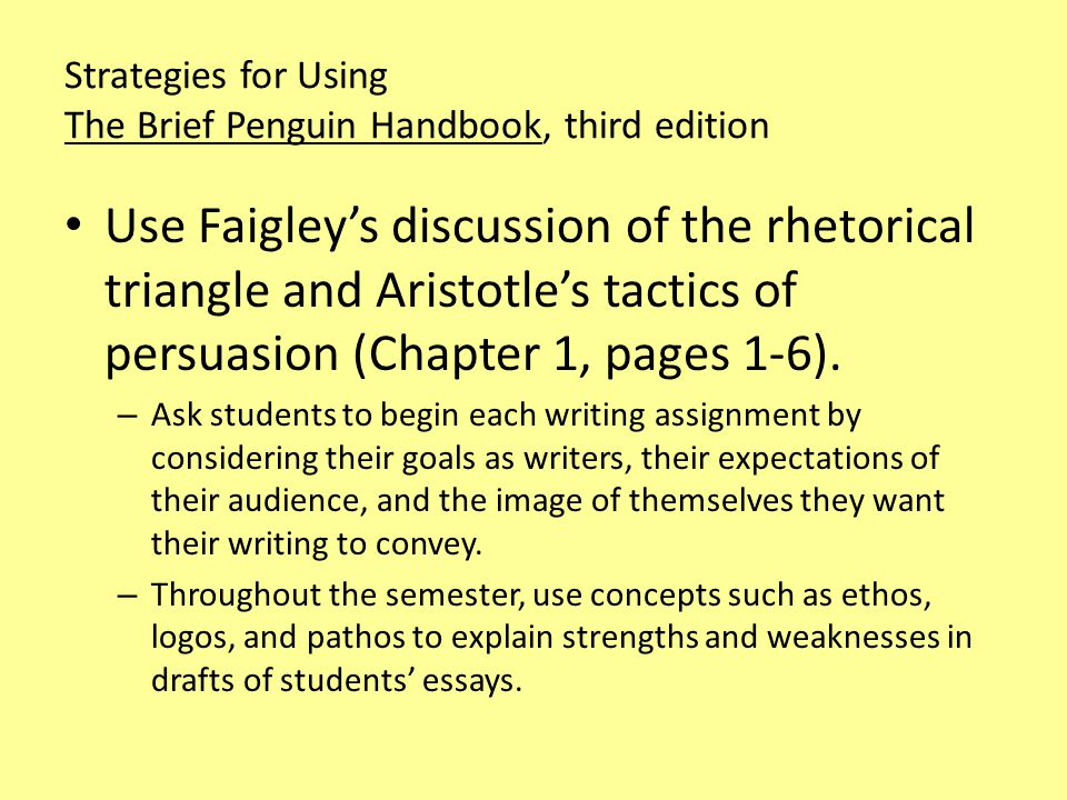 Strategies for Using The Brief Penguin Handbook, third edition For every assignment, encourage students to generate and organize ideas by using the reporter's questions, idea mapping, and other heuristic strategies (discussed in Chapter 2, pages 6 to 20).
