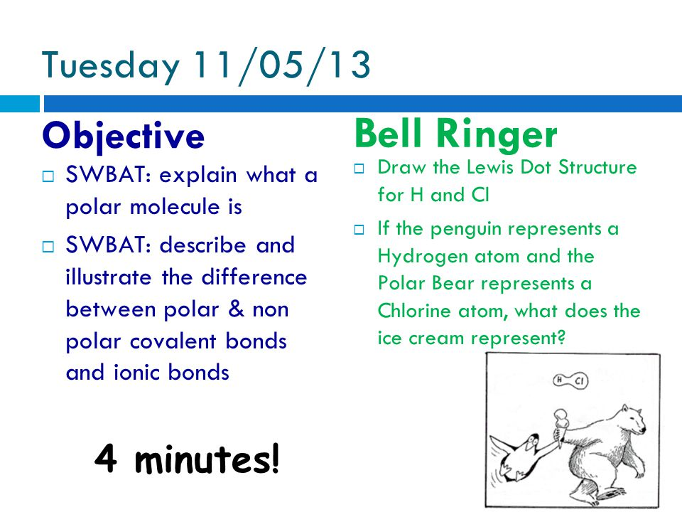 Tuesday 11/05/13 Objective Bell Ringer 4 minutes.