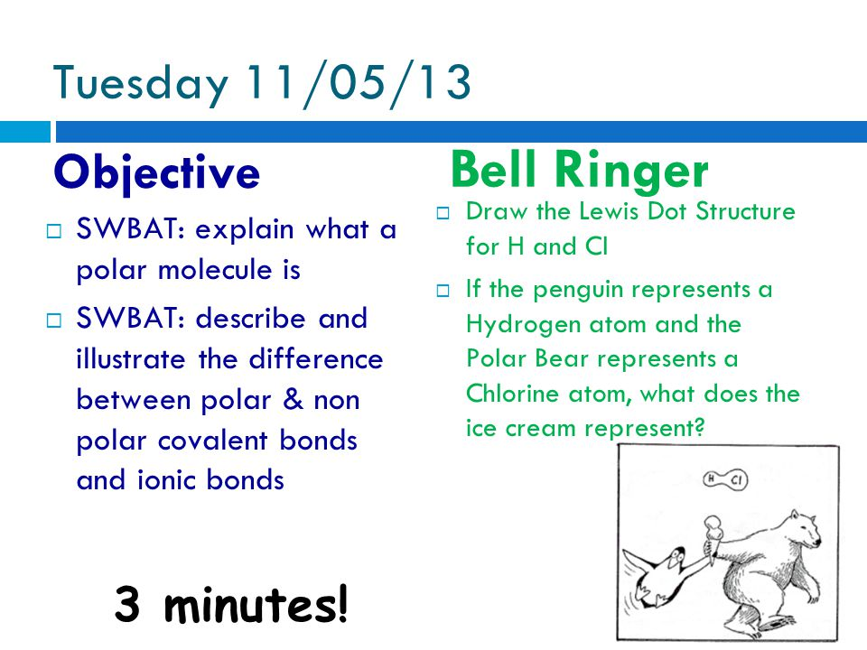 Tuesday 11/05/13 Objective Bell Ringer 3 minutes.