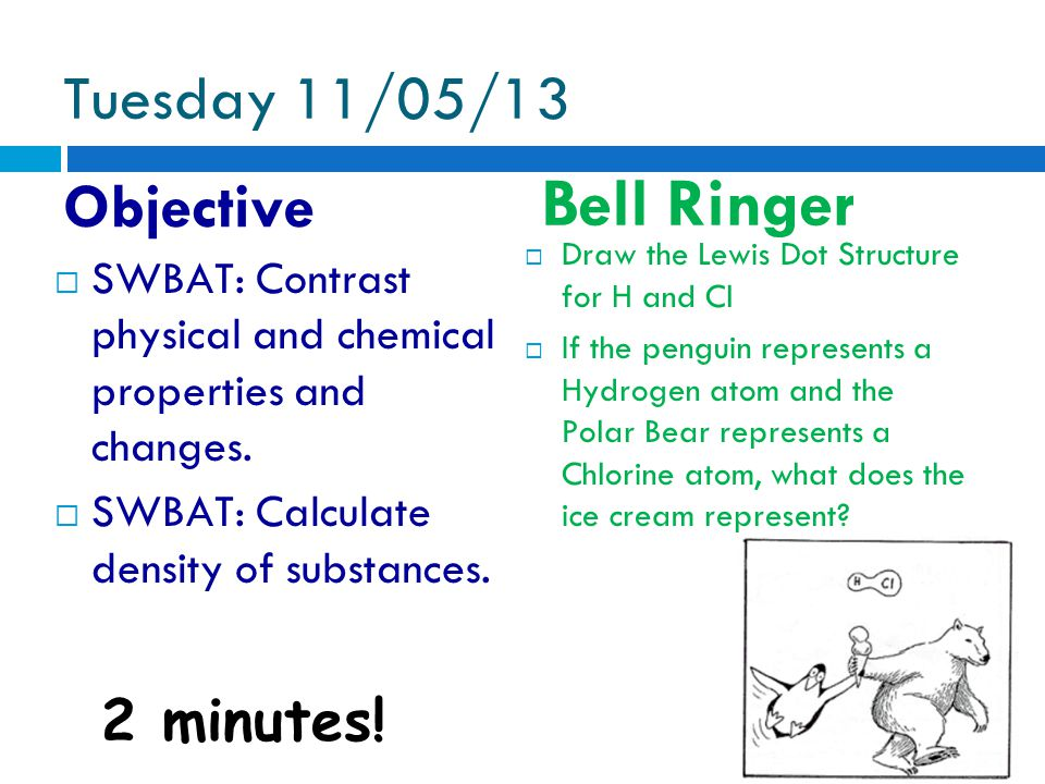 Tuesday 11/05/13 Objective Bell Ringer 2 minutes.