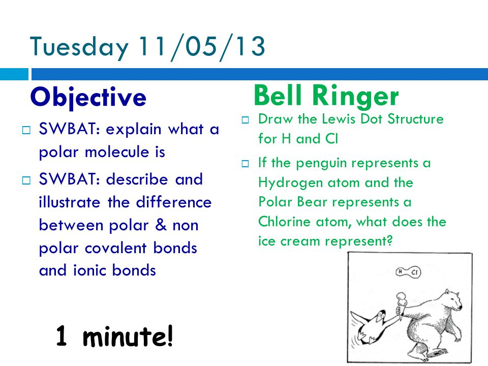 Tuesday 11/05/13 Objective Bell Ringer 1 minute.