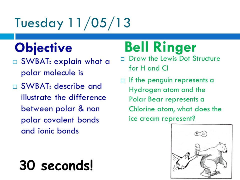 Tuesday 11/05/13 Objective Bell Ringer 30 seconds.