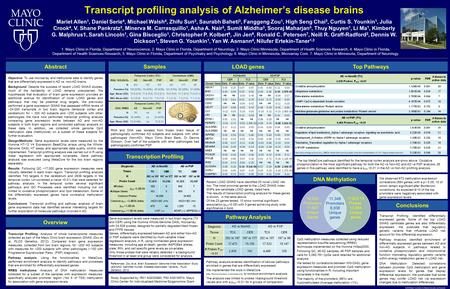  2014 Mayo Foundation for Medical Education and Research Transcript profiling analysis of Alzheimer's disease brains Mariet Allen 1, Daniel Serie 4, Michael.