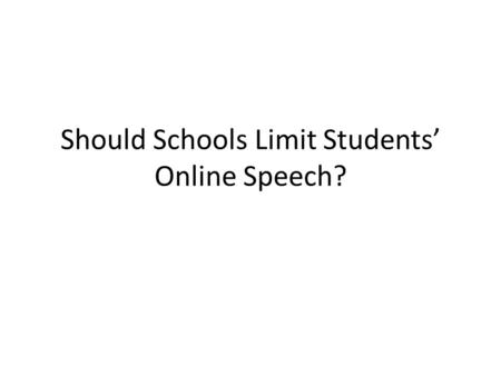 Should Schools Limit Students' Online Speech?. Introduction Introduction includes an eye-catching opening statement and is thoughtful The background to.