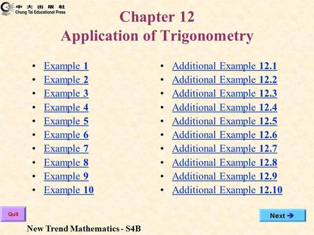 Chapter 12 Application of Trigonometry Additional Example 12.1Additional Example 12.1 Additional Example 12.2Additional Example 12.2 Additional Example.