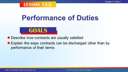 LAW FOR BUSINESS AND PERSONAL USE © SOUTH-WESTERN PUBLISHING Chapter 13Slide 1 Performance of Duties Describe how contracts are usually satisfied Explain.