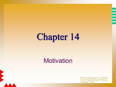 Effective Management, by Williams South-Western College Publishing Copyright © 2002 Chapter 14 Motivation.