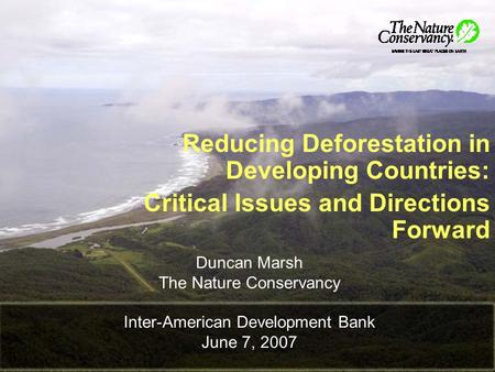 Duncan Marsh The Nature Conservancy Inter-American Development Bank June 7, 2007 Reducing Deforestation in Developing Countries: Critical Issues and Directions.