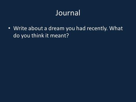 Journal Write about a dream you had recently. What do you think it meant?