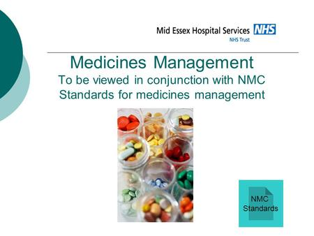 Medicines Management To be viewed in conjunction with NMC Standards for medicines management NMC Standards.