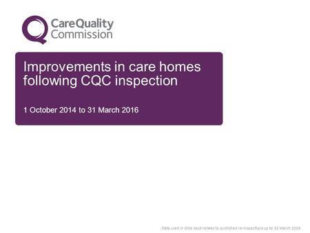 Improvements in care homes following CQC inspection 1 October 2014 to 31 March 2016 Data used in slide deck relates to published re-inspections up to 31.