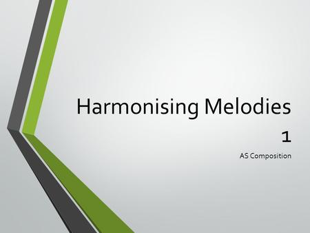 Harmonising Melodies 1 AS Composition. Learning Objectives To be able to spot cadences in melodies we have written To be able to choose appropriate chords.