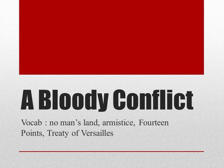 A Bloody Conflict Vocab : no man's land, armistice, Fourteen Points, Treaty of Versailles.