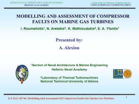 GT-2012-69740: Modelling And Assessment Of Compressor Faults On Marine Gas Turbines LABORATORY OF THERMAL TURBOMACHINES NATIONAL TECHNICAL UNIVERSITY OF.