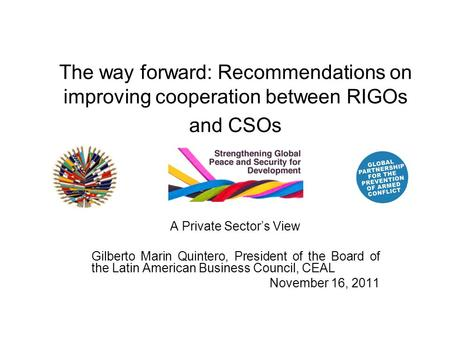The way forward: Recommendations on improving cooperation between RIGOs and CSOs A Private Sector's View Gilberto Marin Quintero, President of the Board.