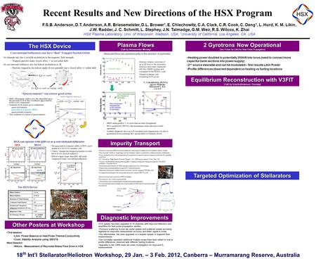 18 th Int'l Stellarator/Heliotron Workshop, 29 Jan. – 3 Feb. 2012, Canberra – Murramarang Reserve, Australia Recent Results and New Directions of the HSX.