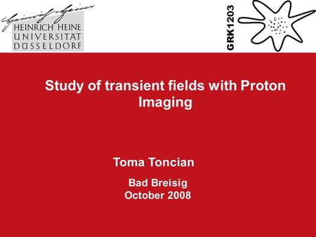 Study of transient fields with Proton Imaging Toma Toncian Bad Breisig October 2008 GRK1203 TexPoint fonts used in EMF. Read the TexPoint manual before.