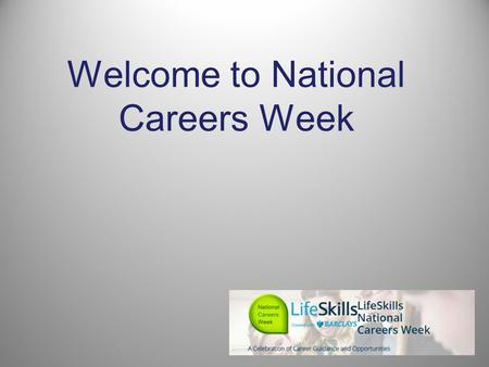 Welcome to National Careers Week. A career? What does career mean to you? Discuss in pairs for 2 mins A career is an individual's journey through learning,