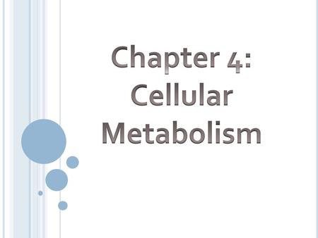 Metabolic Reactions Two major types: Anabolic: Def – buildup of larger molecules from smaller ones Requires energy Usually required for cell growth and.