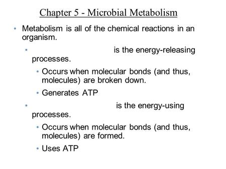 Chapter 5 - Microbial Metabolism Metabolism is all of the chemical reactions in an organism. is the energy-releasing processes. Occurs when molecular bonds.