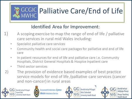 Palliative Care/End of Life Identified Area for Improvement: 1) A scoping exercise to map the range of end of life / palliative care services in rural.
