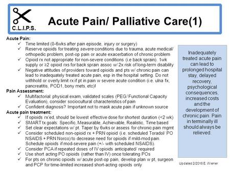 Inadequately treated acute pain can lead to prolonged hospital stay, delayed recovery, psychological consequences, increased costs and the development.