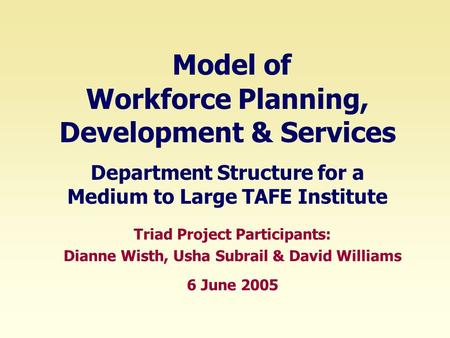 Triad Project Participants: Dianne Wisth, Usha Subrail & David Williams 6 June 2005 Model of Workforce Planning, Development & Services Department Structure.