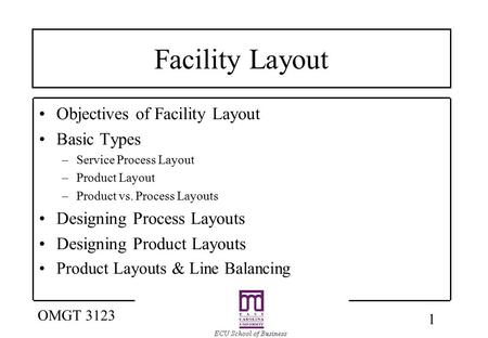 1 OMGT 3123 Facility Layout Objectives of Facility Layout Basic Types –Service Process Layout –Product Layout –Product vs. Process Layouts Designing Process.