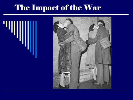 The Impact of the War. The Impact of the War on Labor  Unemployment fell  Average weekly paychecks rose  Women entered the workforce in record numbers.