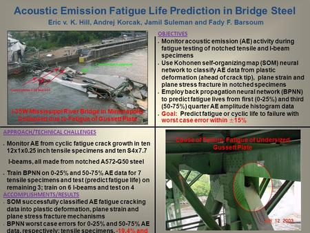 Acoustic Emission Fatigue Life Prediction in Bridge Steel Eric v. K. Hill, Andrej Korcak, Jamil Suleman and Fady F. Barsoum APPROACH/TECHNICAL CHALLENGES.