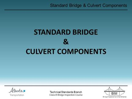 BIM Bridge Inspection and Maintenance Technical Standards Branch Class B Bridge Inspection Course Standard Bridge & Culvert Components STANDARD BRIDGE.
