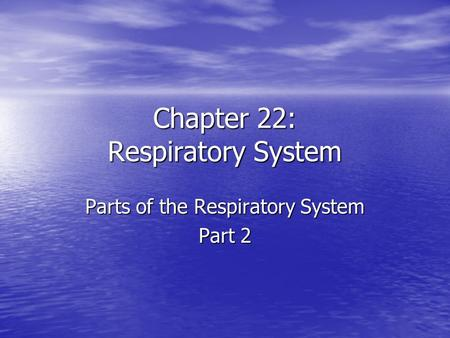 Chapter 22: Respiratory System Parts of the Respiratory System Part 2.
