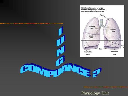 "Physiology Unit. Compliance refers to the distensibility of the lung. Def: "" The change in volume of the lung produced by a change in pressure across."