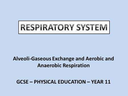 Alveoli-Gaseous Exchange and Aerobic and Anaerobic Respiration GCSE – PHYSICAL EDUCATION – YEAR 11.