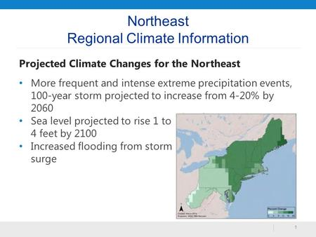 Northeast Regional Climate Information Projected Climate Changes for the Northeast More frequent and intense extreme precipitation events, 100-year storm.