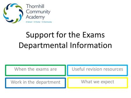 Support for the Exams Departmental Information When the exams areUseful revision resources Work in the department What we expect.