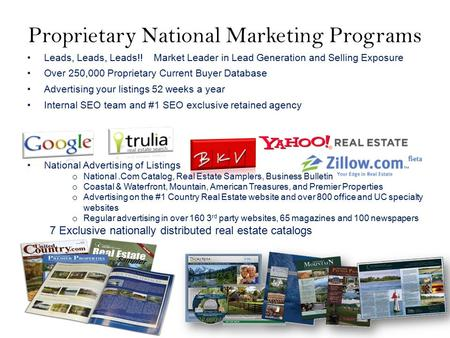 Proprietary National Marketing Programs Leads, Leads, Leads!! Market Leader in Lead Generation and Selling Exposure Over 250,000 Proprietary Current Buyer.