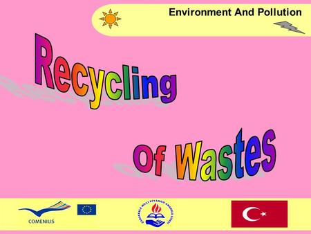 Environment And Pollution. Recycling means to convert waste materials which can be recycle into raw materials by using recycling methods. This is the.