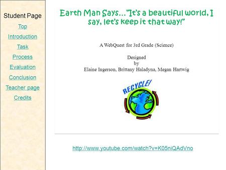 "Student Page Top Introduction Task Process Evaluation Conclusion Teacher page Credits Earth Man Says…""It's a beautiful world, I say, let's keep it that."